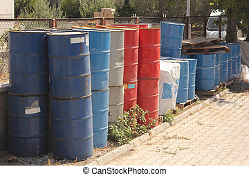 Toxic waste - collection of old toxic 50 gallon drums