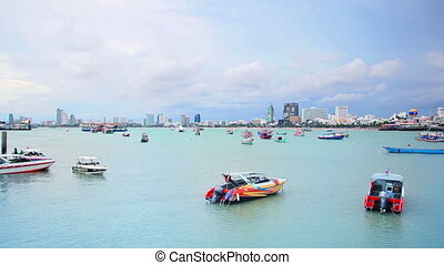 ships in bay of Pattaya, Thailand