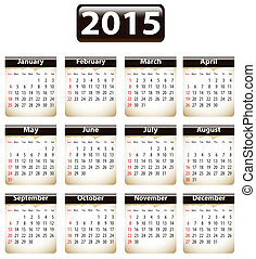 2015 English calendar - Calendar for 2015 year with torn...