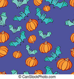 Halloween Pumpkin Bat Party Pattern - Halloween party...