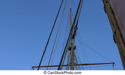 Set of ropes on the sail mast of the big ship on dock. Big...
