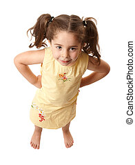 Little girl with attitide hands on hips - Young preschool...