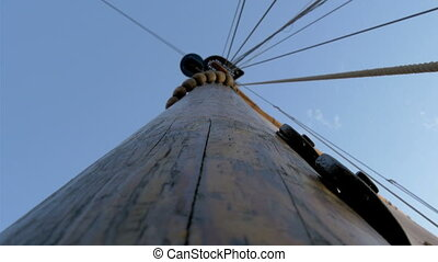 The sail mast of the big ship or boat on dock It is used to...