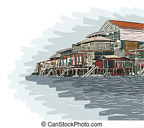 Canalside buildings - Editable vector illustration sketch of...