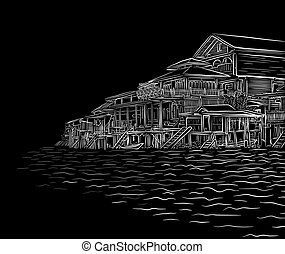 Waterside sketch - Editable vector illustration sketch of...