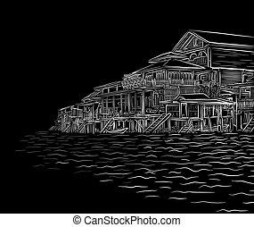 Waterside sketch - Editable vector illustration sketch of...