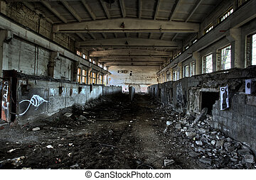 Empty industrial room - Empty industrial decayed room with...