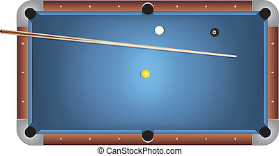 Realistic Billiards Pool Table Blue Felt Illustration - A...