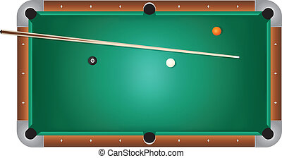 Realistic Billiards Pool Table Green Felt Illustration - A...