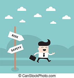 Happy businessman on the road Take a risk concept Vector...
