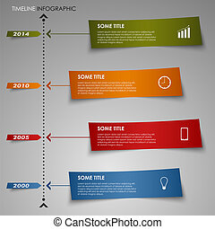 Time line info graphic colored striped paper template vector...