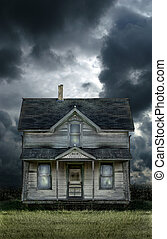 Old Farmhouse Stormy Sky - Old haunted farmhouse under a...