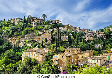Deia village on Majorca - Scenic view of Deia village on the...