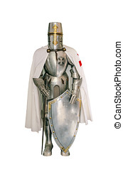 Templar knight isolated over a white background
