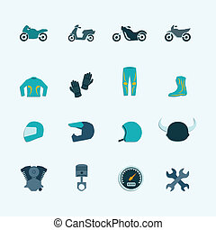 Biker icon set - Biker street riding style accessories...