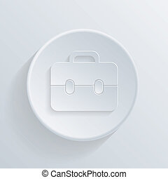 paper circle flat icon with a shadow, briefcase - paper...