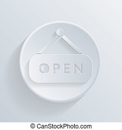 circle icon with a shadow. open label sign.