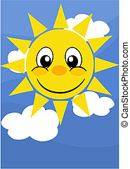 Happy sun on blue sky - vector illustration.