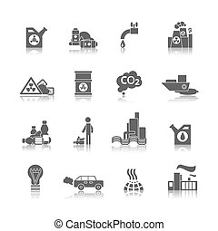 Pollution Icons Set - Thermal air and water toxic chemicals...