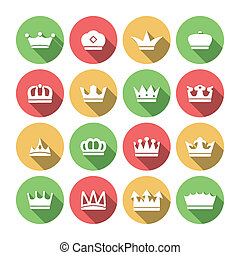 Crown Icons Set - Imperial classical crowns flat solid icons...