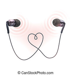 Headphones earplugs poster - Black wire headphones earplugs...