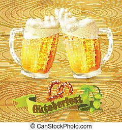 Beer mugs Octoberfest poster - Glass mug of beer pretzel and...