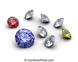 Diamonds collection - Red, blue, white and yellow diamonds...