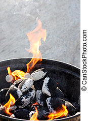 Barbecue - A grill with charcoal and flames