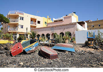 Fishing boats on the beach of Corralejo, Canary Island...