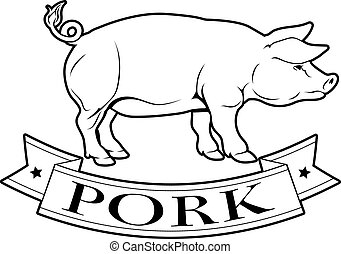 Pork food label of a pig and banner reading pork