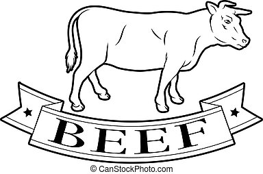 Beef food label - Beef meat food label of a cow and banner...