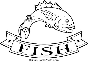 Fish food label - Fish or seafood food label of a fish and...