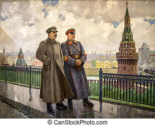 Stalin in art - Stalin monuments, like paintings and busts...