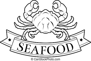 Seafood label - Crab or seafood food label of a crab and...