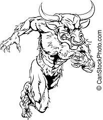 Minotaur bull sports mascot running
