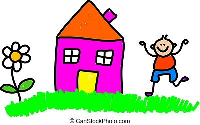 my house - Whimsical drawing of a happy little boy playing...