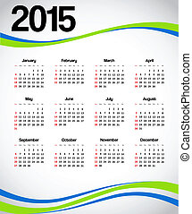 Calendar 2015 with green and blue decorations