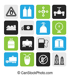 Natural gas objects and icons - Silhouette Natural gas...