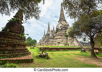 Ruins of acient stupas at Buddhist temple - Ruins of ancient...