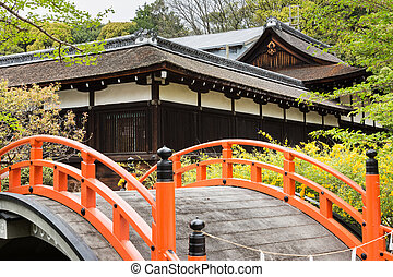Orange arched bridge of Jshimogamo-jinja - Orange arched...