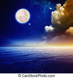 Full moon - Peaceful background, sunset sky with full moon...