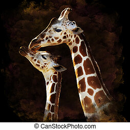 Watercolor Image Of Giraffes - Watercolor Digital Painting...
