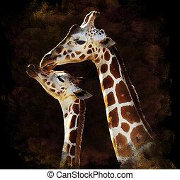 Watercolor Image Of Giraffes - Watercolor Digital Painting...