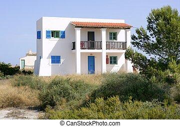 Formentera near Ibiza island white houses