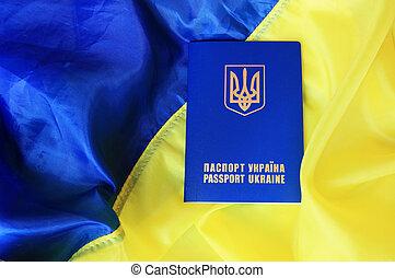 bandeira, passaporte, Ucrânia