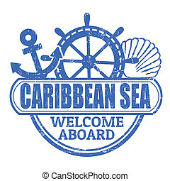 Caribbean Sea stamp - Grunge rubber stamp with the text...