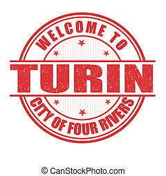 Welcome to Turin stamp - Welcome to Turin, City of four...