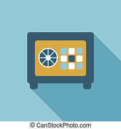 Safe box flat icon with long shadow