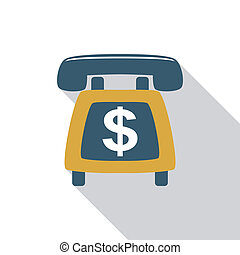 Telemarketing flat icon with long shadow