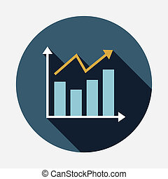 chart flat icon with long shadow